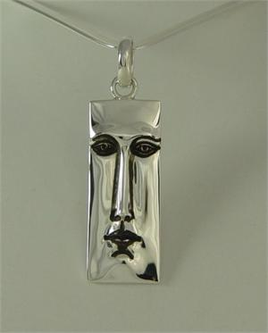 Sergio Bustamante REctangle Face Large Pendant